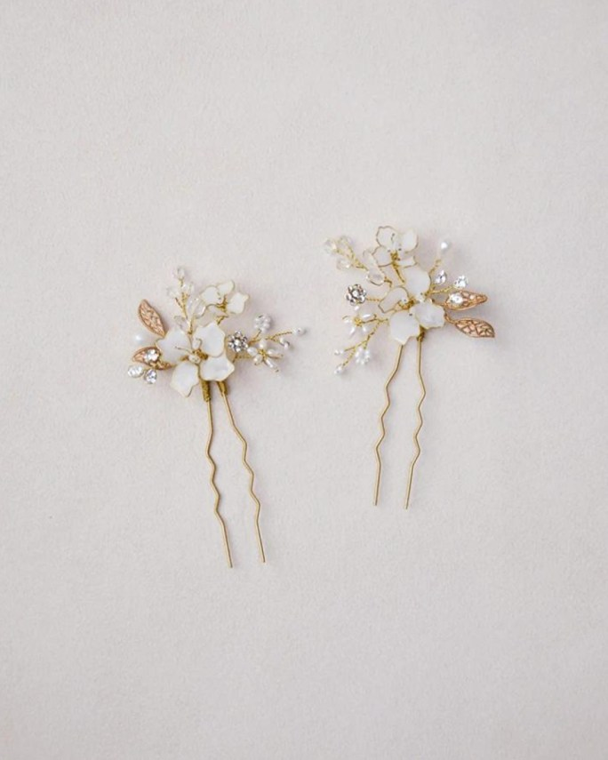 Luciana_Opal Bridal Hair Pins - Set of 2 - Made with hand painted white florals, brass leaves, crystals, beads and freshwater pearls