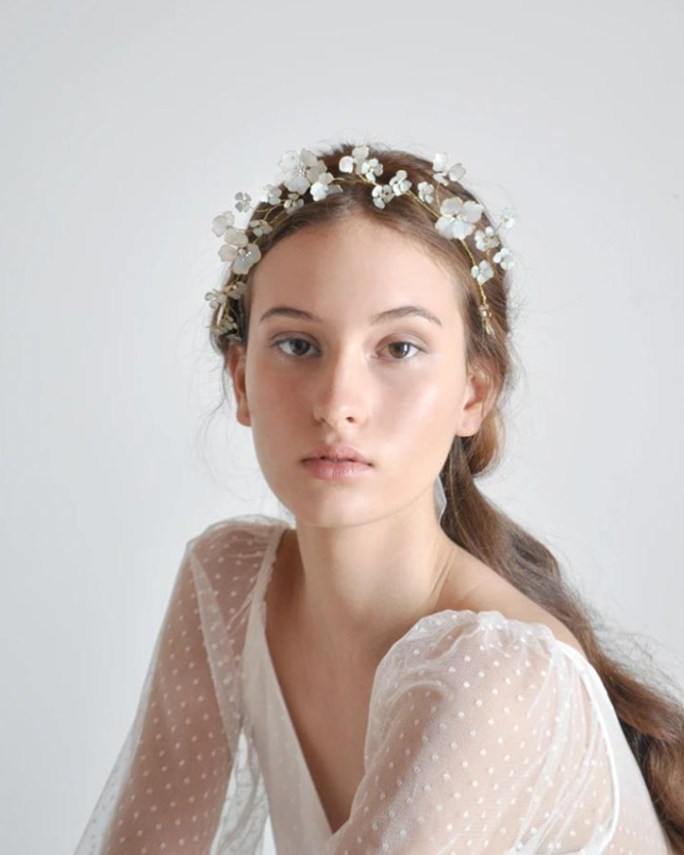 Thalia_Bridal Hair Crown with hand painted light blue flowers and swarovski crystals