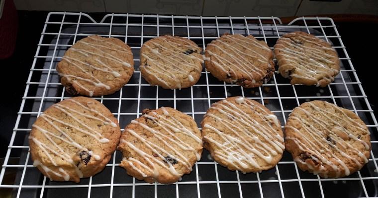 White chocolate glazed Oatmeal cranberry raisins cookies