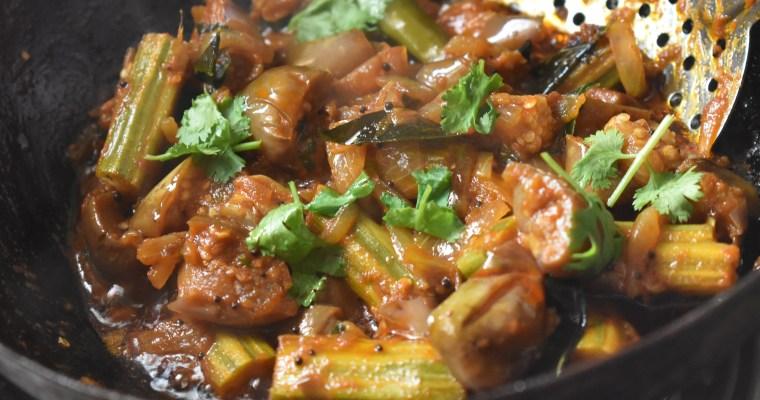 Eggplant/Brinjal Drumstick Stir Fry/Kathirikai Thokku