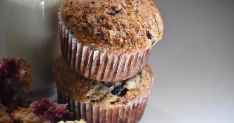 Easy Banana Raspberry Muffins