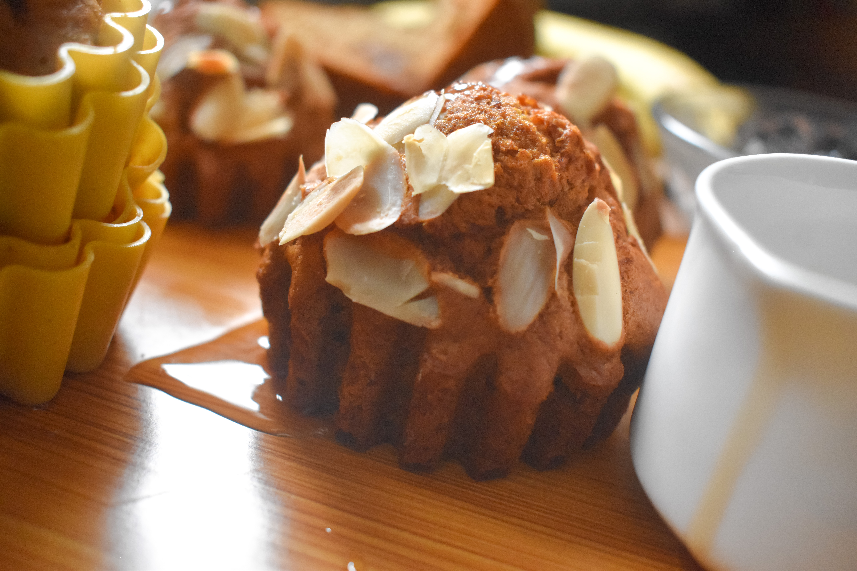 Healthy Maple sweetened Banana Almond Muffins