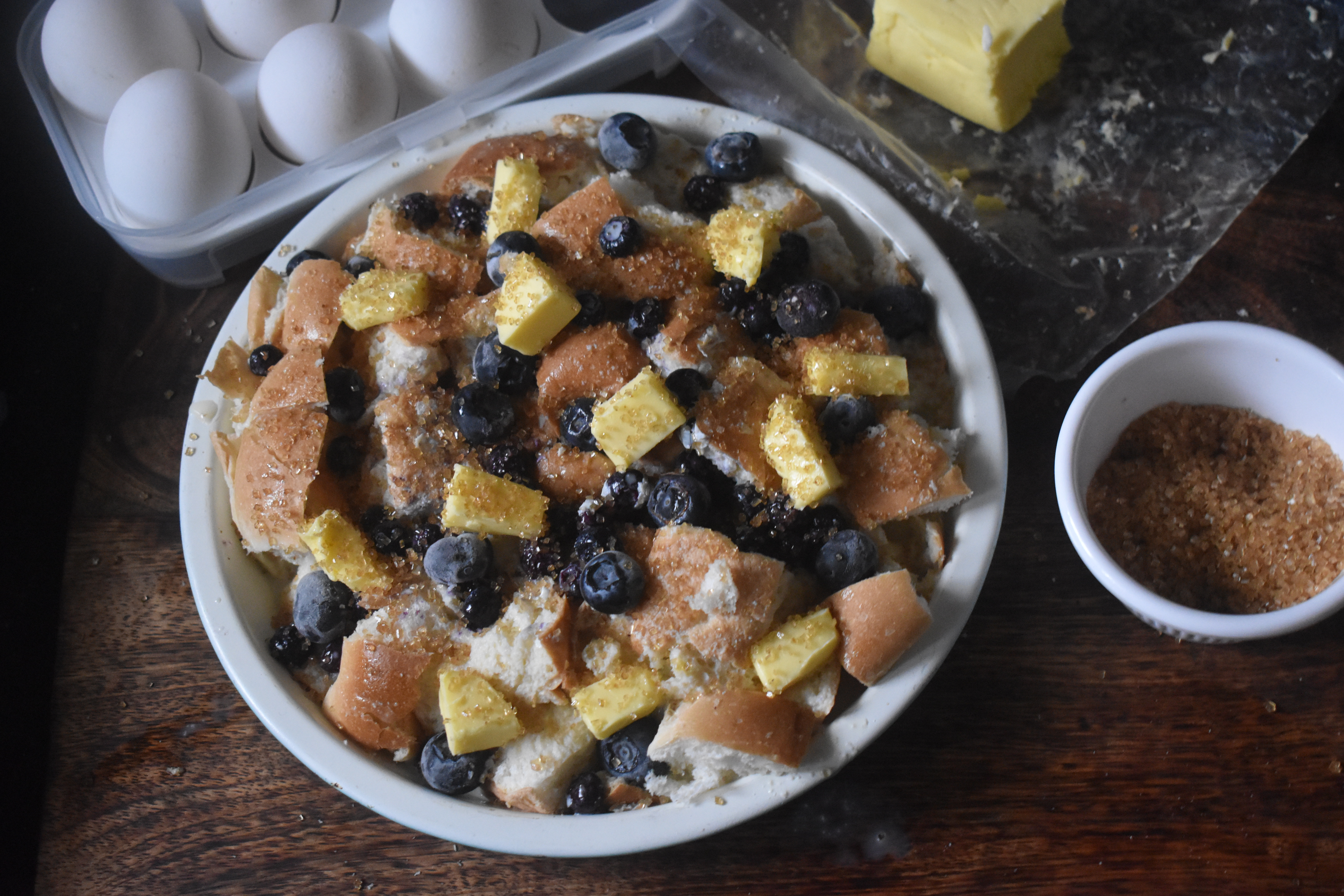 Blueberry Bread and Butter Pudding - Parveenskitchen.com