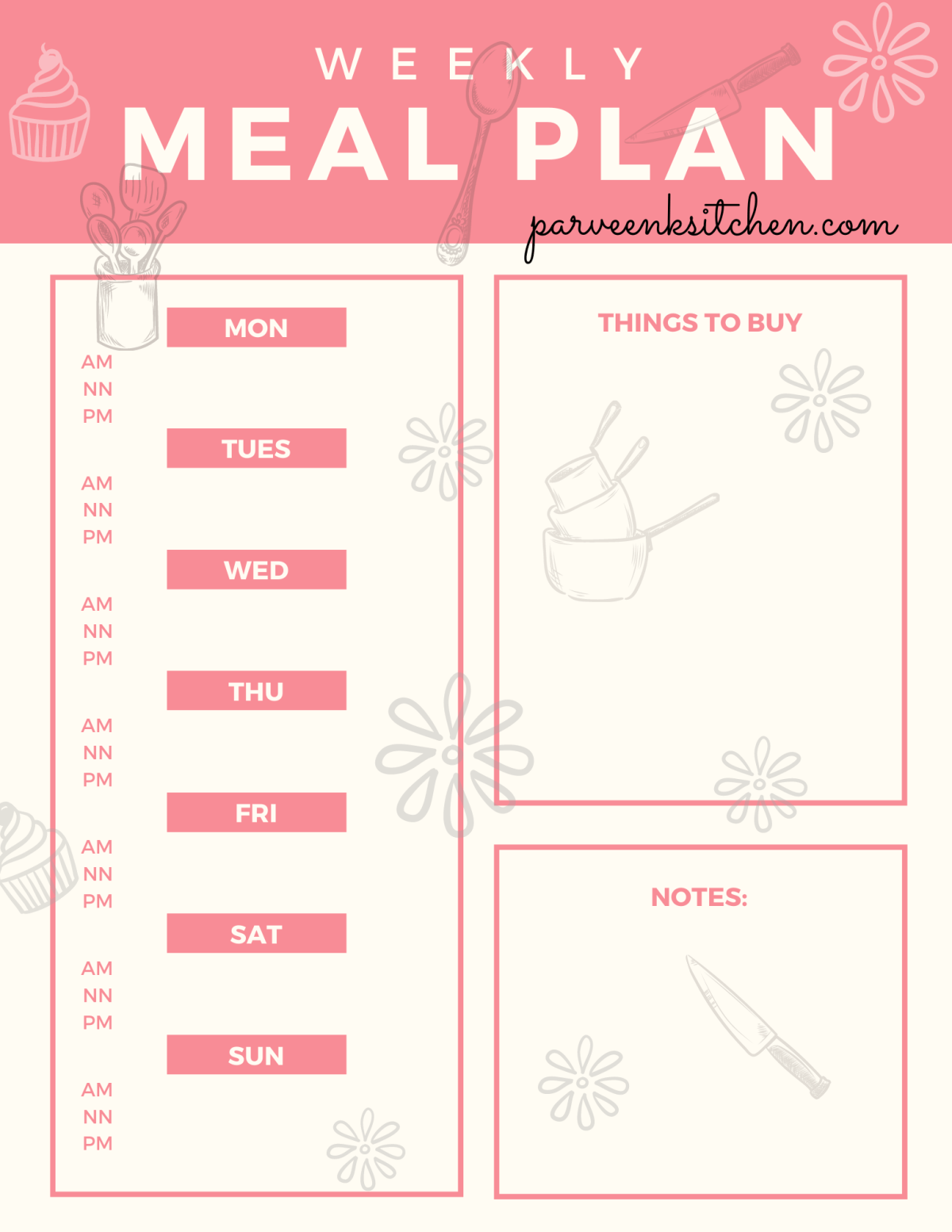 Pale Red Meal Planner Menu