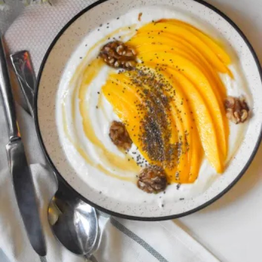 Mango with Maple Yogurt chia seeds and walnuts