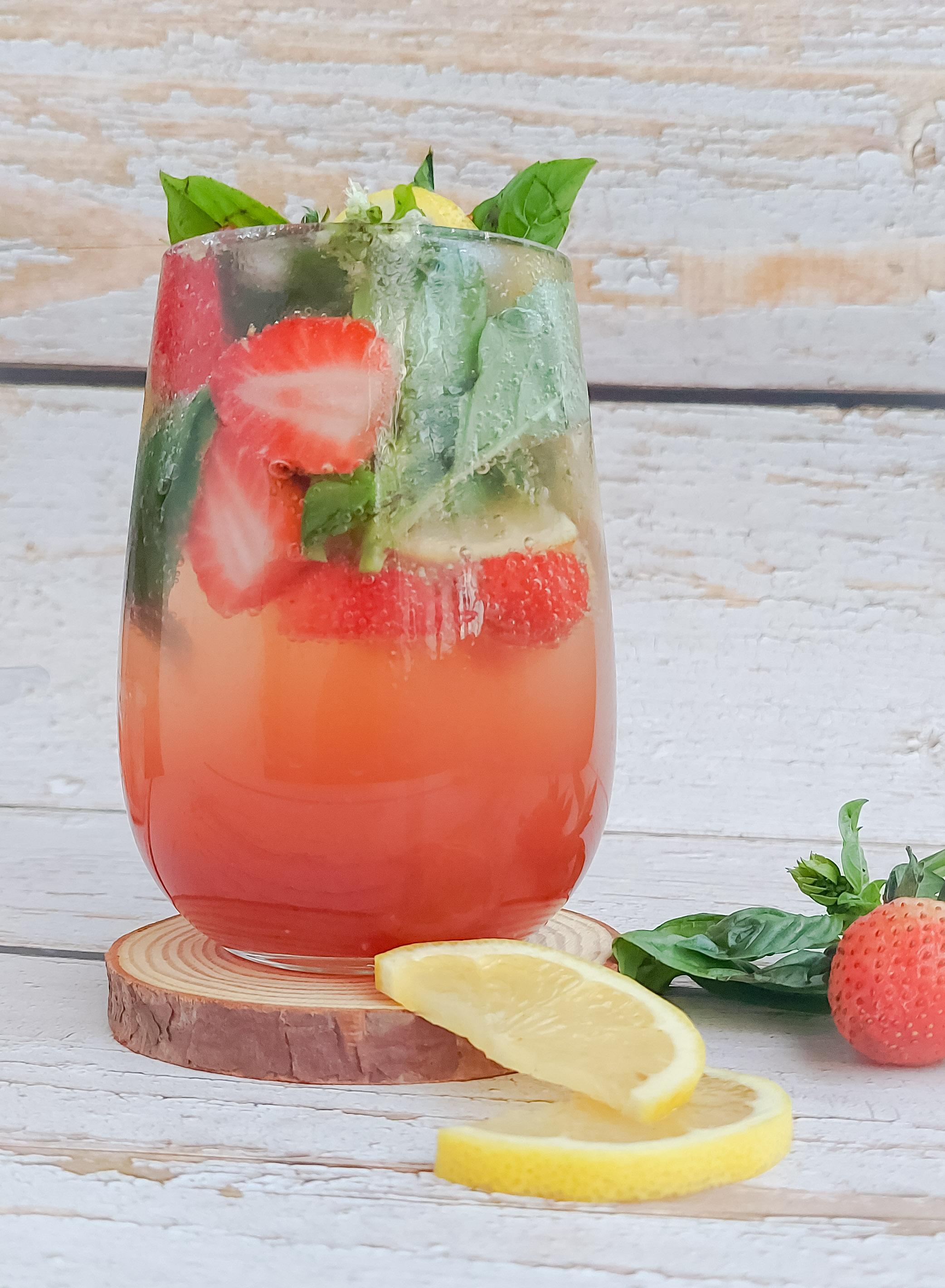 Simple Strawberry Basil lemonade