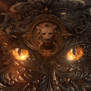 The cover of an ancient book, bearing the symbol of a lion. Fiery feline eyes light on the cover.
