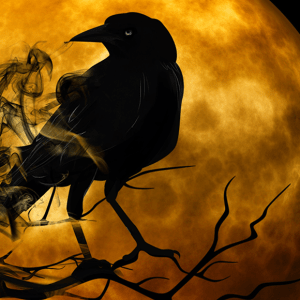 A raven perches on a branch in front of a looming yellow moon. Whisps of smoke drift across the scene.