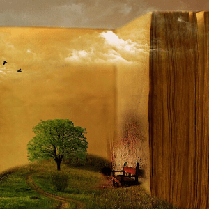 A serene hilltop features a lone tree, a worn bench, and a massive blank book looming behind it all in front of the setting sun.