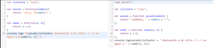 BabelJS para transformar backticks. A la derecha texto transformado.