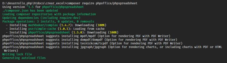 Instalar PhpSpreadsheet