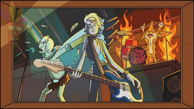 Imagen de Rick, Squanchy y hombre pájaro con marca de agua de Aku Aku
