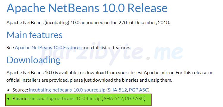 Descargar binarios de NetBeans para Windows