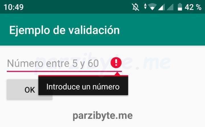 Validación de EditText en Android con setError