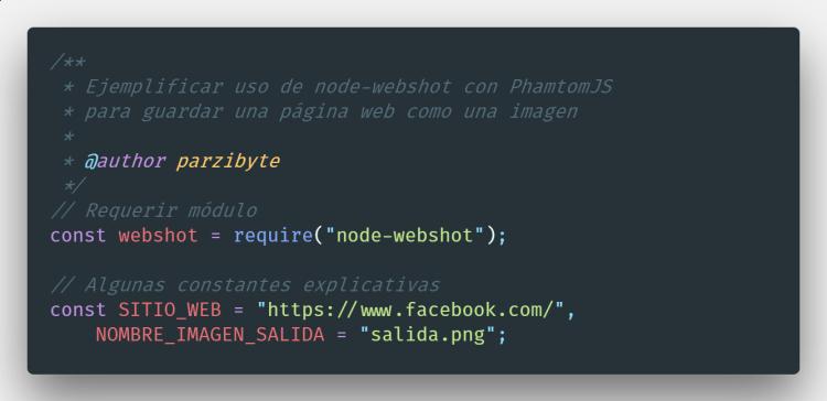 Código para guardar página web como imagen usando Node JS
