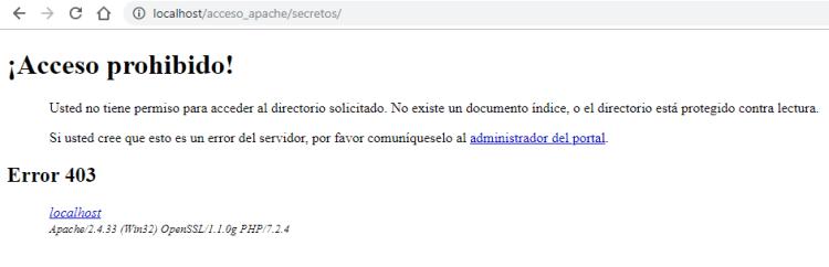 Denegar acceso a directorio completo con Apache