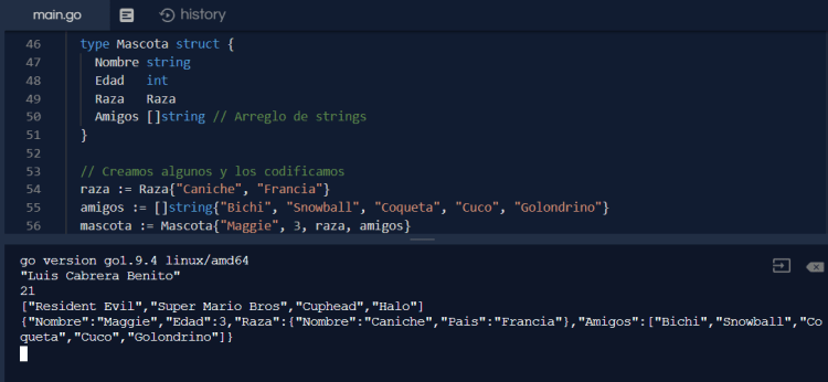 Codificar y decodificar JSON en Go con Marshal y Unmarshal