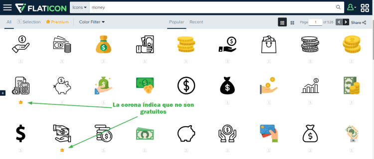Distinguir iconos gratuitos y premium
