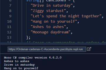 Arreglo de cadenas ordenado de manera ascendente en C#