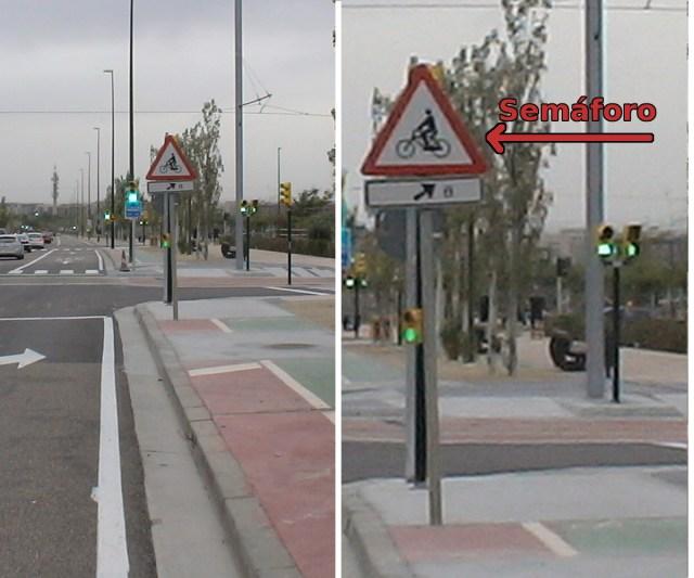 Un Semáforo de Valdespartera oculto por una señal de tráfico