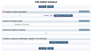 This screen depicts the edit view for an author instance.