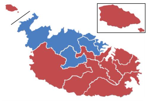 Rojo: Laboristas, Azul: Nacionalistas