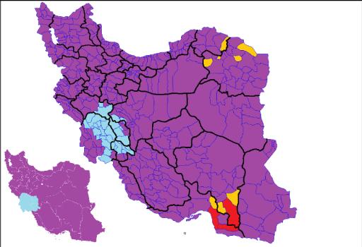 Mapa con resultados: Rouhani (Morado), Ghalibaf (Amarillo), Jalili (Rojo), Rezaee (Turquesa)