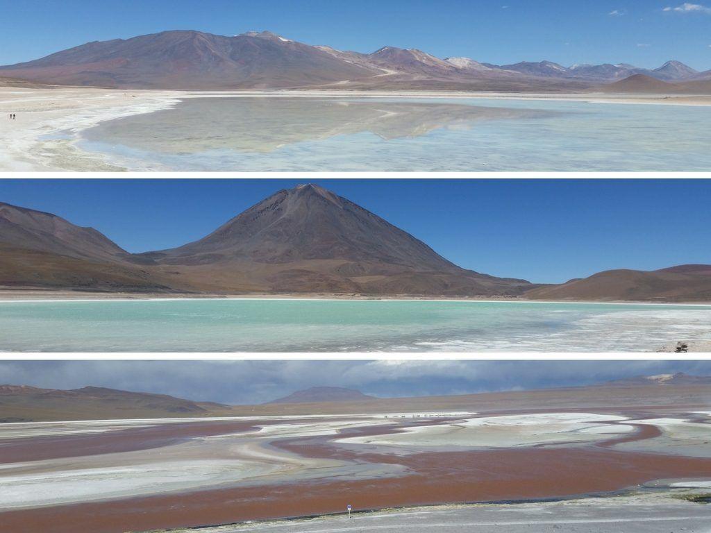 lagunas altiplánicas: blanca, verde y roja - Salar de Uyuni