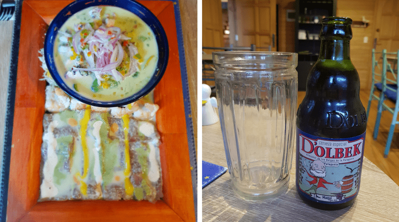 Tablas para compartir en La Cevichería con una exquisita cerveza artesanal Dolbek de Maqui