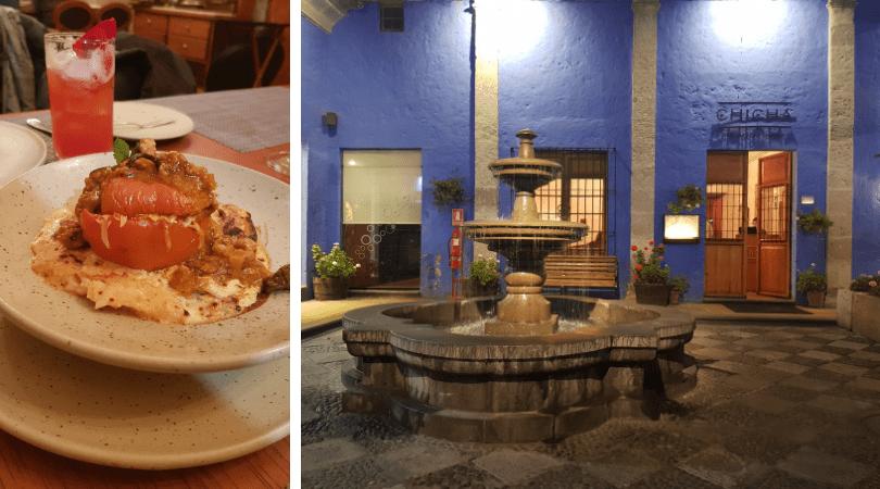 El rocoto relleno y la fachada del restaurant, en pleno centro histórico