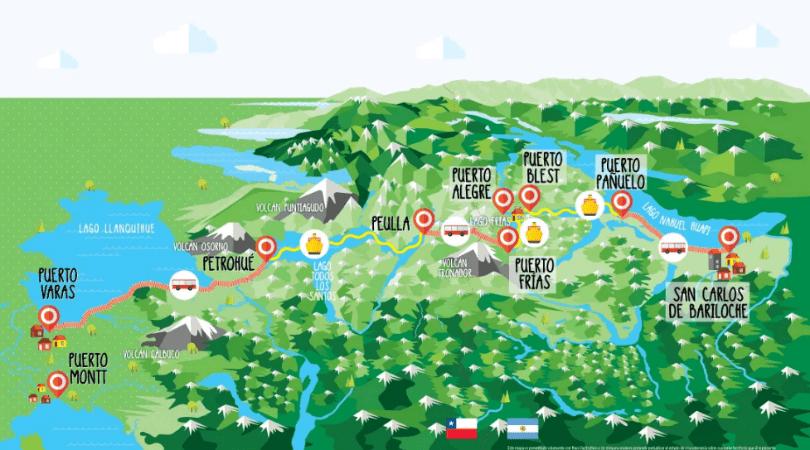 Mapa de la travesía completa, perteneciente a Cruce Andino