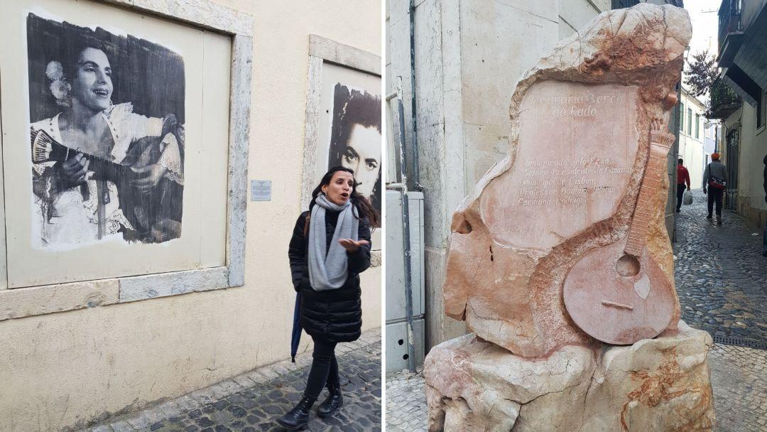Mariana la guía del free tour del Fado por Lisboa, contándonos la historia de esta corriente musical portuguesa