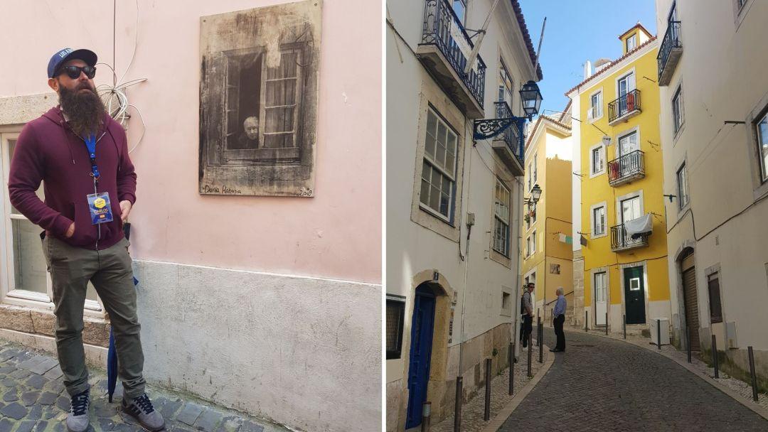 Carlos en el tour por Alfama, contándonos sobre las emblemáticas fotografías de Camila Watson de los habitantes silenciosos en la Mouraria