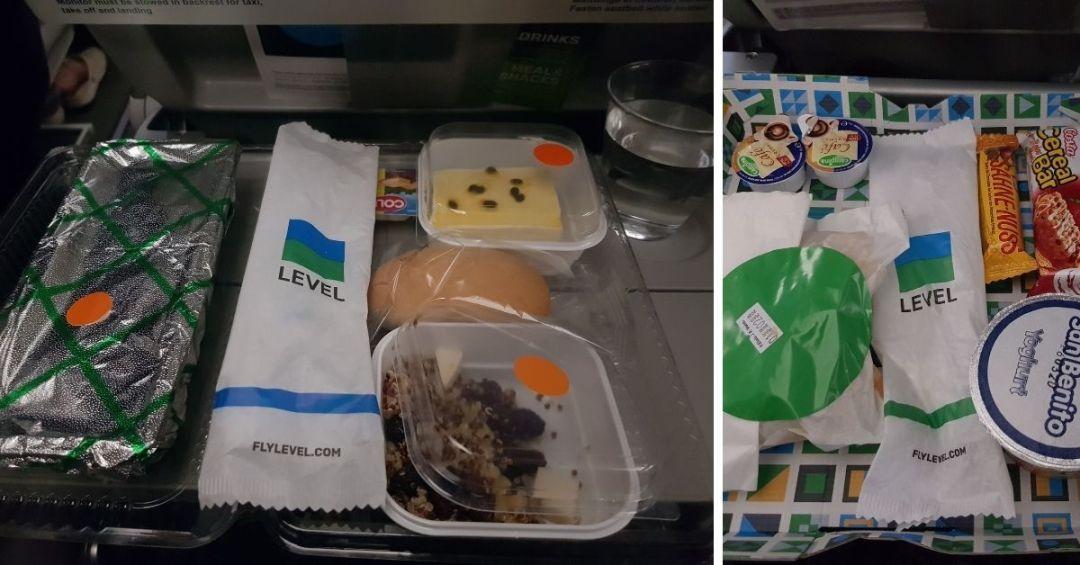cena y desayuno del vuelo a Barcelona
