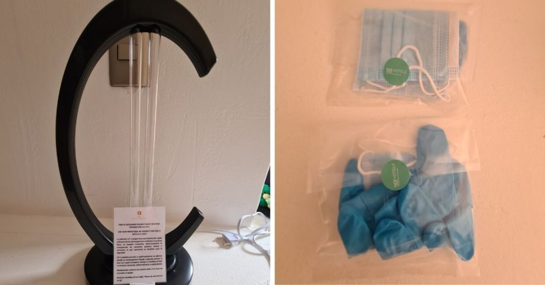 La lámpara de luz UV, kits de mascarillas y guantes para huéspedes