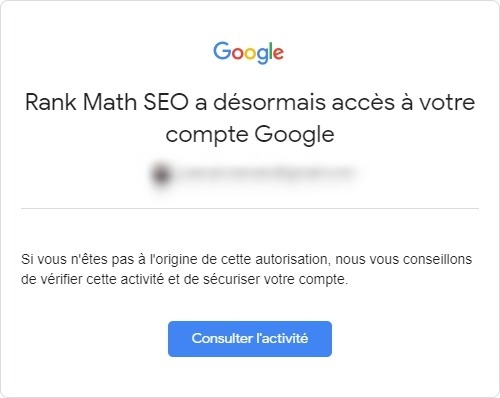 Rank Math - Alerte email Google