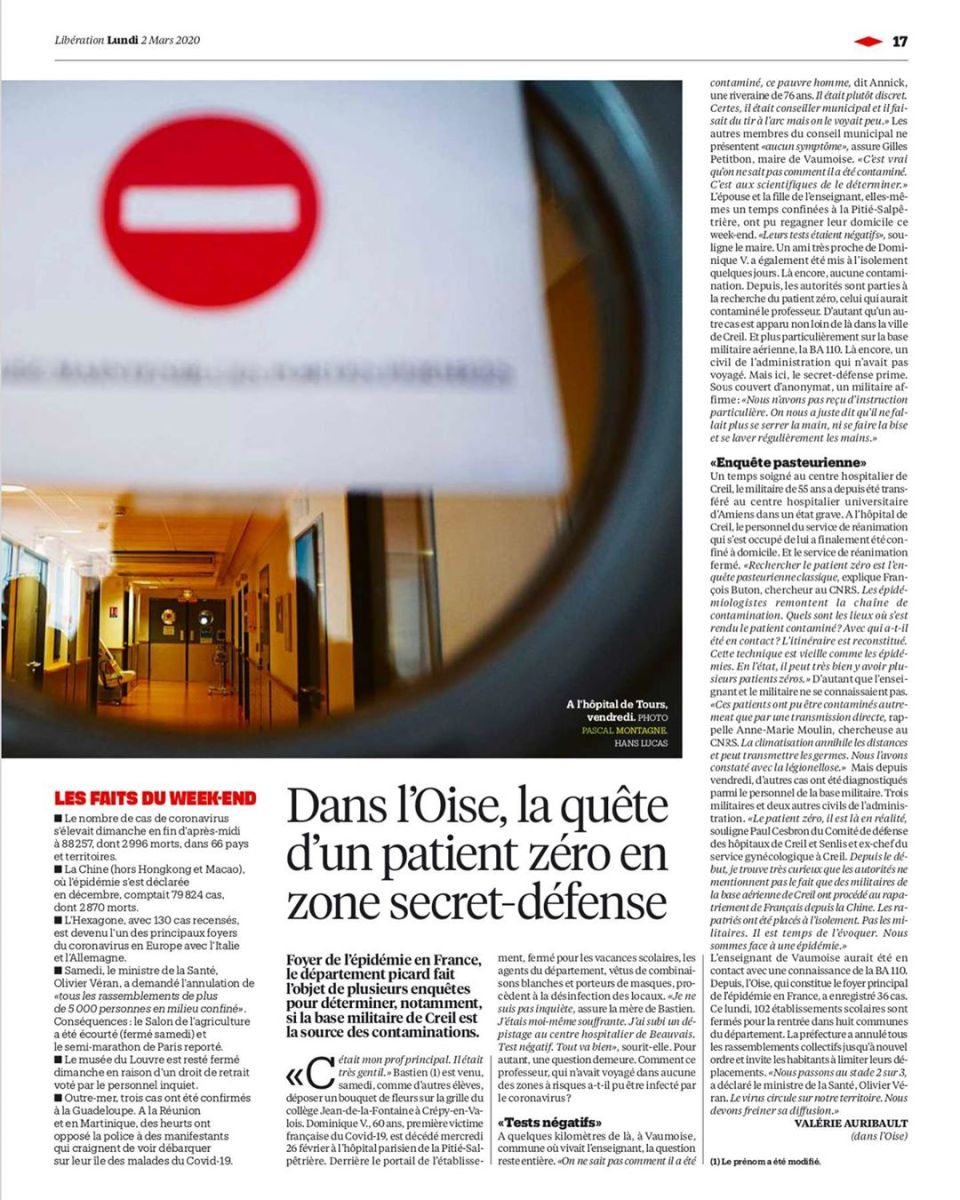 [press issue] Coronavirus topic in @liberationfr – Pascal Montagne, @studiohanslucas studio #health #world #wolrdwide #disease #coronavirus #covid19 #medical #hospital