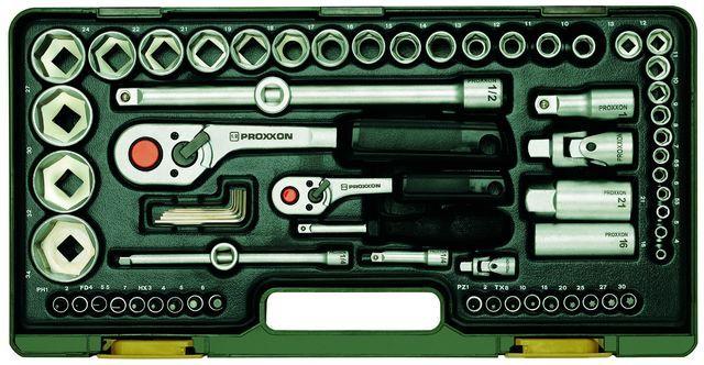 PROXXON №23286. Полный комплект с флажковыми трещотками, большой и средней на 1/4 и на 1/2