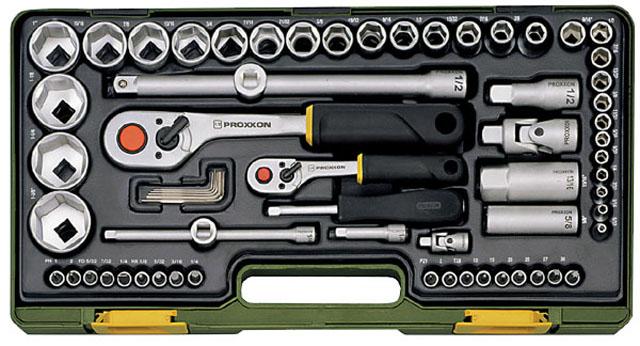 PROXXON №23294. Полный комплект дюймового инструмента с флыжковыми трещотками на 1/4 и на 1/2