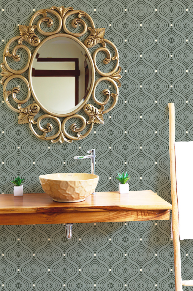 Patricia, ogee pattern design created by Pascûal, applied on wallpaper mockup