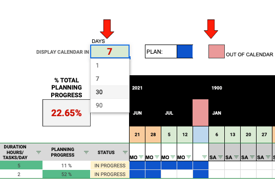 time display options in the Gantt chart