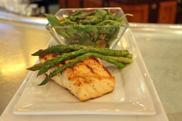 Kale salad and Grilled maple cedar plank atlantic salmon Intercontinental