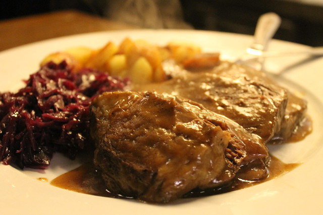Stewed beef with red cabbage and sauteed potatoes