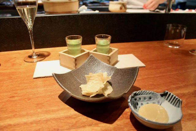 Gin tonic de té verde, cremita de miso, foie, mandarina japonesa y sake Koy Shunka Barcelona