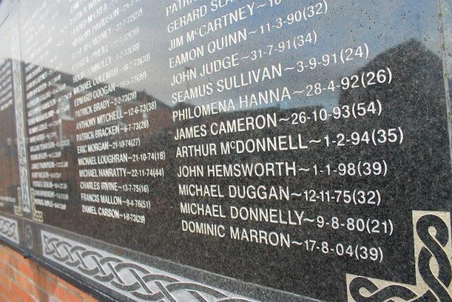 Nombres víctimas Belfast