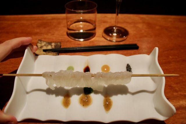 Sashimi de calamar Koy Shunka Barcelona