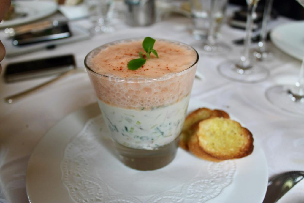 Sopa fria de mariscos Restaurante L'Art de Vivre Spa Belgica