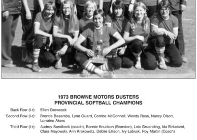 1972-1973 Browne Motors Dusters Women's Softball Team – Team
