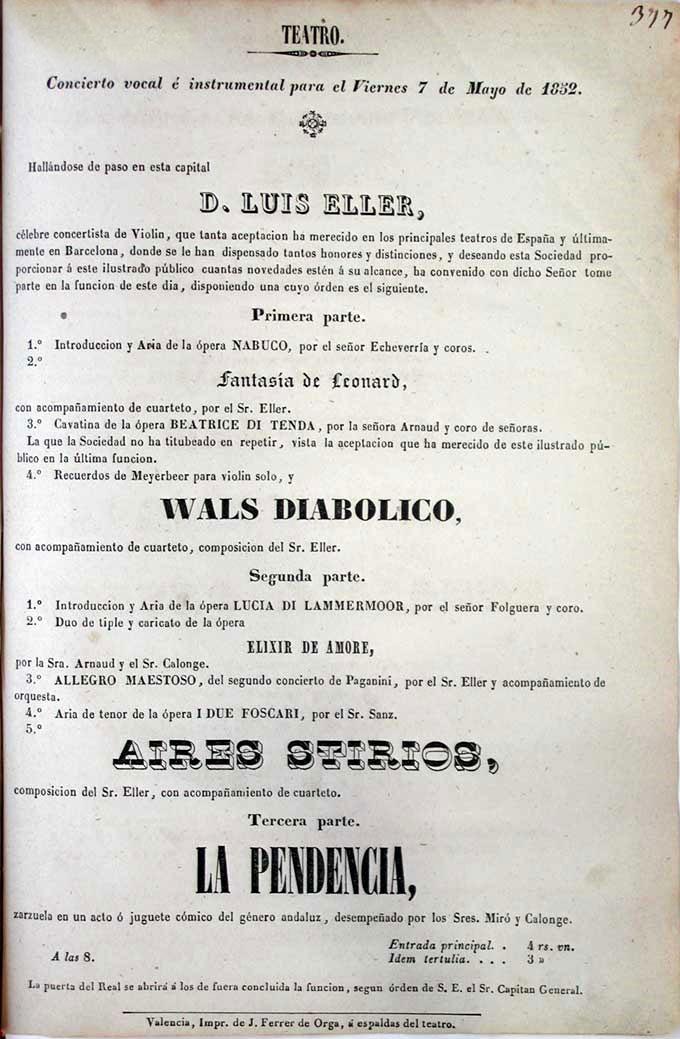 Anuncio de un concierto de Louis Eller el 7 de mayo de 1852 en Valencia