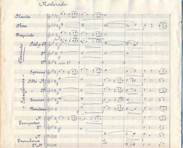 Primera página de la partitura del Himno a Nuestra Señora de la Caridad, de Beigbeder, en su versión para banda. | Foto: Archivo Musical de Luis Romero